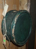 Antique original green paint wooden barrel